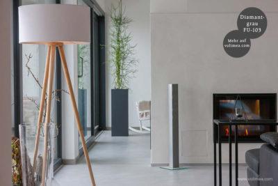 Mikrozement fugenlose Futado Wand und Bodenbeschichtung am Kamin im Wohnzimmer - Diamantgrau FU-103