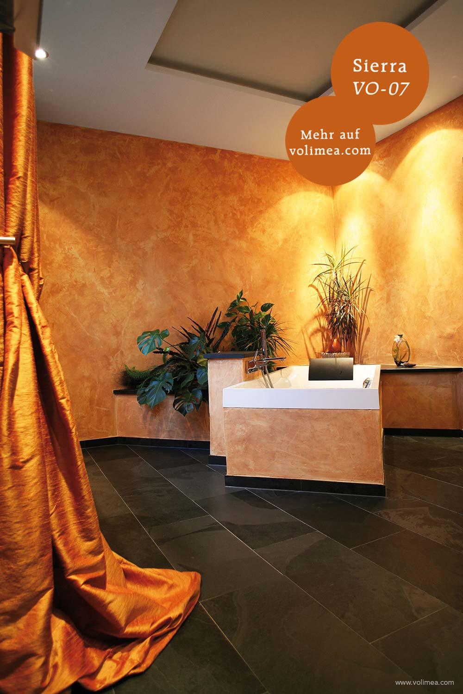 Mikrozement fugenlose Volimea Wandbeschichtung im Badezimmer - Sierra VO-07 Fresko