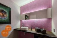 Mikrozement fugenlose Volimea Wandbeschichtung im Badezimmer - Flamingo VO-23 patiniert