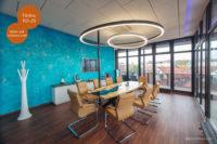 Mikrozement fugenlose Volimea Wandbeschichtung im Büro - Türkis VO-27