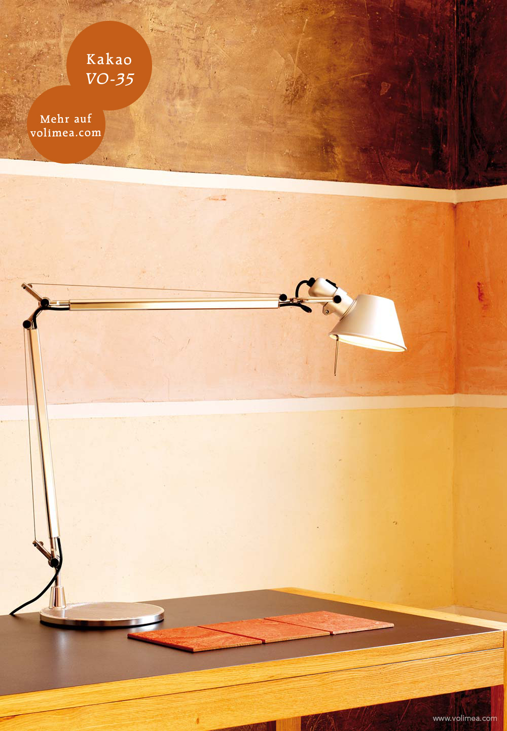 Mikrozement fugenlose Volimea Wandbeschichtung im Büro - Kakao VO-35