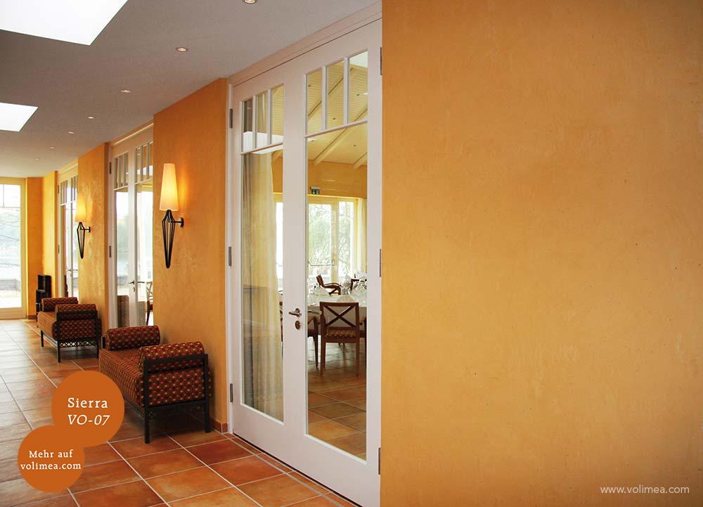 Mikrozement fugenlose Volimea Wandbeschichtung in einer Hotellobby - Sierra VO-07