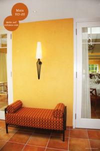 Mikrozement fugenlose Volimea Wandbeschichtung in einem Hotelzimmer - Mais VO-05