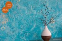 Mikrozement fugenlose Volimea Wandbeschichtung im gewerblichen Bereich - Türkis VO-25